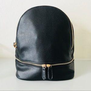Handbags - Contemporary Mini Vegan Leather Backpack - Black