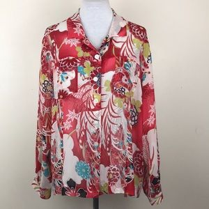 Chico's Floral Silk Sheer Button Down Blouse Size3