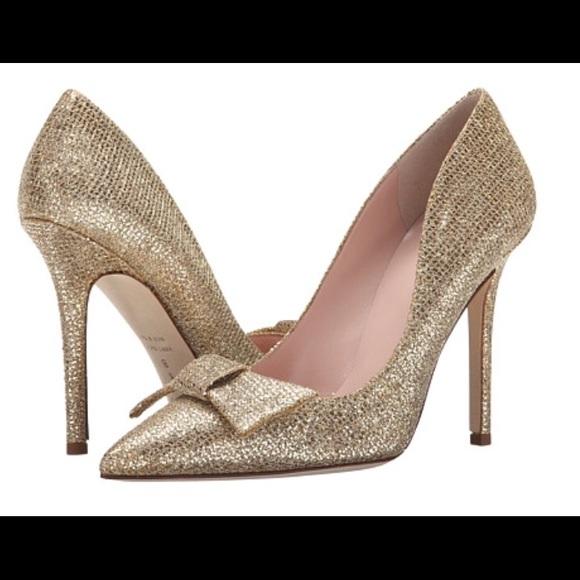 10b19755322 New Kate Spade Layla Gold Starlight Bow Heels!