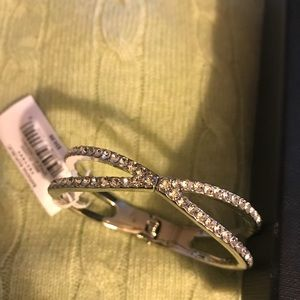 Banana Republic Silvertone w Crystals Bangle NWT