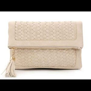 Urban Expressions ivory woven tassel flap clutch