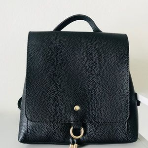 Minimal Vegan Leather Black Backpack  Bag