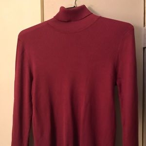 Josephine Chaus plum color ribbed turtleneck