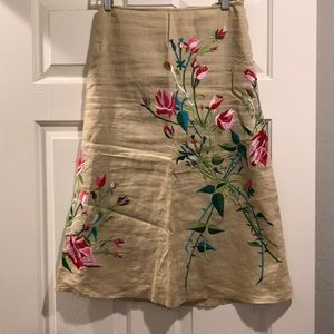 French connection A-line embroidered midi skirt