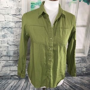 TOPSHOP. Green Button Up Long Sleeve Top. Size 6.