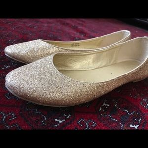 Cathy Gold Shimmer Glitter Flats