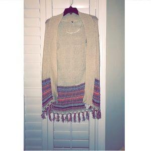Roxy fringe sweater cardigan