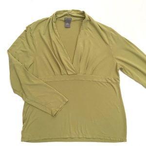 Ann Taylor sage green v neck soft blouse