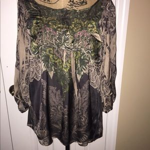 oneworld satin-like dark blouse