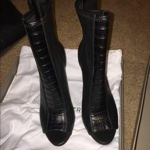 BCBG Maxazria black Jase Peep-toe zip up bootie