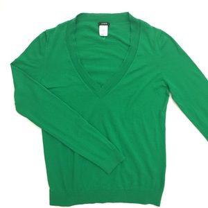J. Crew kelly green v-neck knit top
