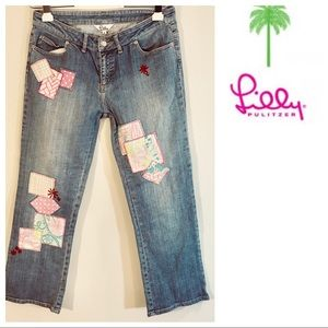 LILLY PULITZER denim ankle patch JEANS 4 rare!