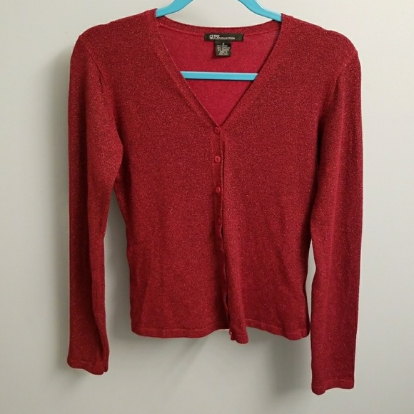 buy good low price sale good Guess Collection Sparkly Deep Red Cardigan