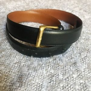 Coach black leather belt with brass buckle 34""