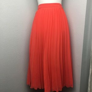 ASOS Pleated Midi Salmon Skirt