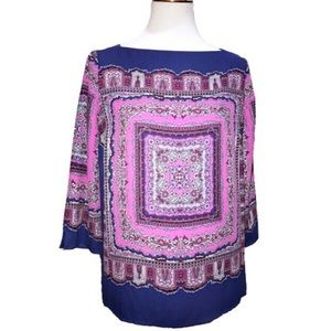 Adrianna Papell Handkerchief Blouse Blue Pink