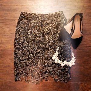 Gold Filigree Pencil Skirt