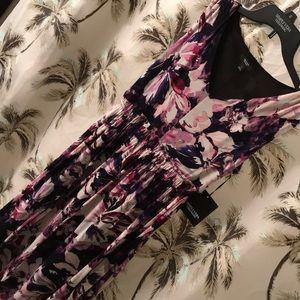 Simply Vera Purple floral sleeveless vneck dress