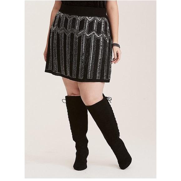 992b6453f77e8 Beaded Sequin Front Mini Skirt