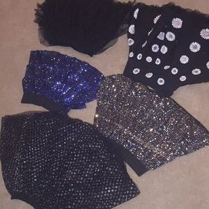 SEQUINS TIERED flared tulle SKIRTS various szs EUC