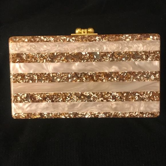 f83b68819d Edie Parker Handbags - Edie Parker Jean Glitter Stripe Acrylic Clutch