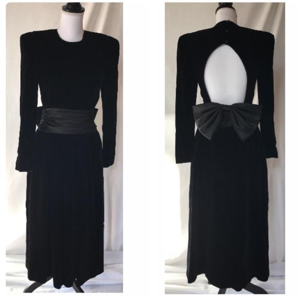 48825affcefda depeche mode Dresses   Skirts - Vintage 80s Black Velvet Long Midi Formal  Dress 4