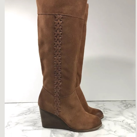 51c564cd3f7 Lucky Brand Shoes - Lucky Brand Wedge Knee High Boots Camel Suede