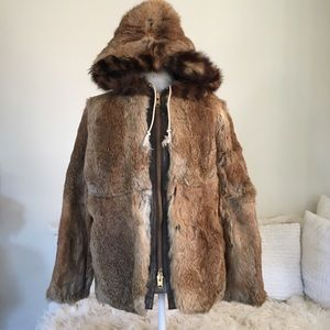 Vintage 1970s Rabbit fur coat w/ raccoon fur hood