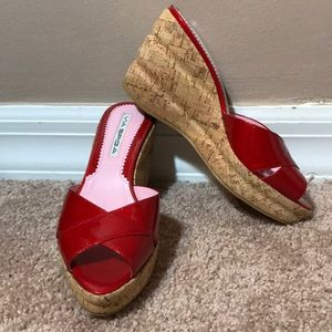 Via Spiga Red Patent Leather Cork Wedge Sandals