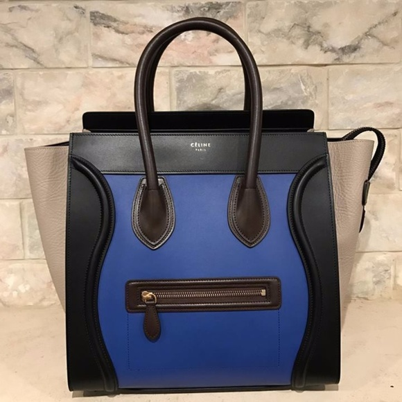b704888ba6d0 Celine Mini Luggage Blue Black Beige Brown Suede