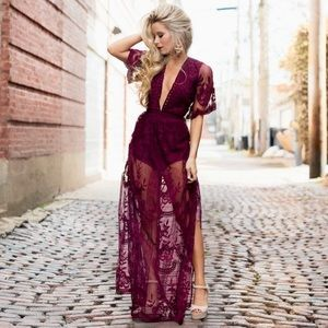 🆕 Honey Punch Burgundy Lace Romper Maxi Dress