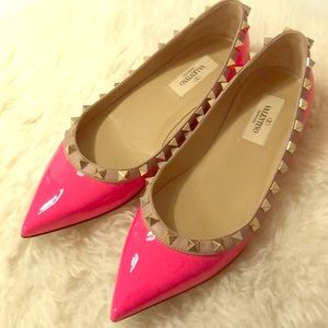 Authentic Valentino Rockstud Flats - Pink - Size 6