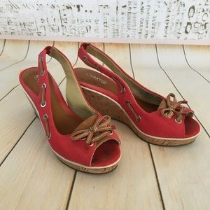 Sperry canvas and leather slingback wedge sz 9