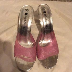 """Cinderella slippers"" fun pink 3"" heel slides."