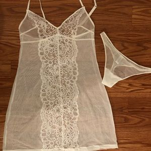 NWOT La Perla Lace Sheet white babydoll set SizeS