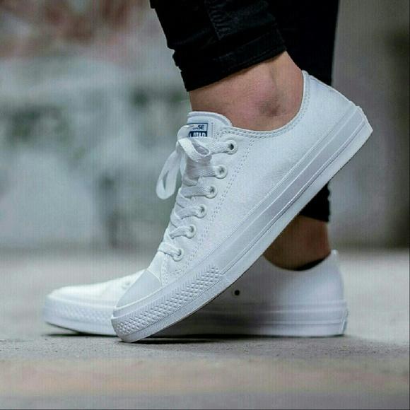 Converse Chuck II White Low Top w Nike Lunarlon NWT
