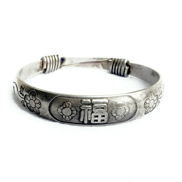 96d8efce45 Vintage Jewelry | Antique Chinese Sterling Silver Bangle Bracelet ...
