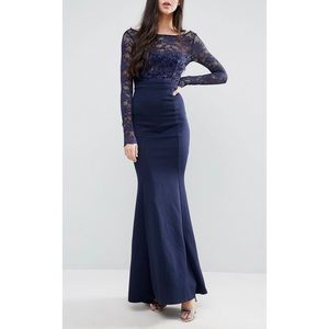 Tall Fishtail Maxi Dress- Lace Sleeves & Bow back