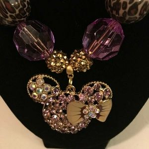 Other - Purple and Gold Rhinestone Minnie Mouse Necklace