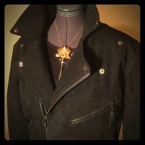 BLK DNM Coat 98 Long Suede Biker Jacket, SzS