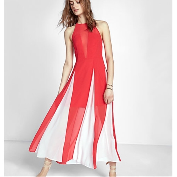 595512783b Express Dresses | Red And White Maxi Dress | Poshmark