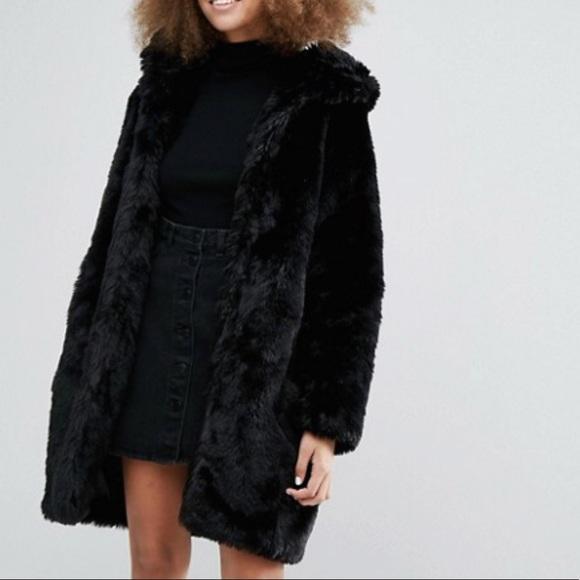 bc1e98999dda ASOS Jackets & Coats | Monki Black Faux Fur Hooded Coat | Poshmark
