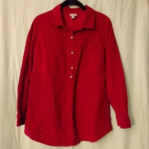 J.Jill red corduroy shirt