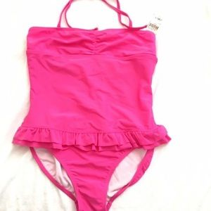 MUDD Girls One Piece Pink Bandeau Swimwear NWT