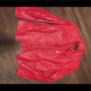 Red leather jacket made in Italy