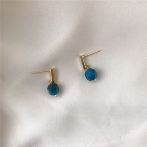 BACK in Stock 18k gold plated blue stone earring