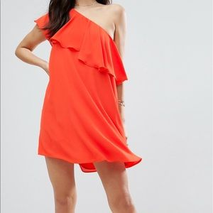 ASOS Orange Swing one-shoulder dress