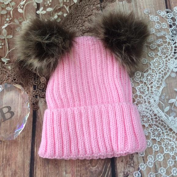 Boutique Baby Girl Pink Knit Pom Pom Hat 86e944254eb