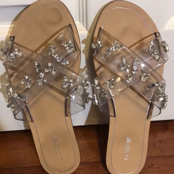 328232611760 J. Crew Shoes - J Crew clear and rhinestone slides size 10