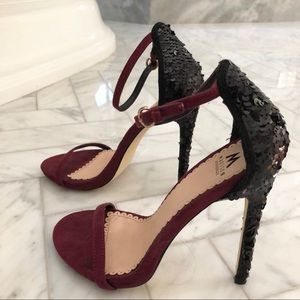 Madison burgundy & black sequined heel sandals